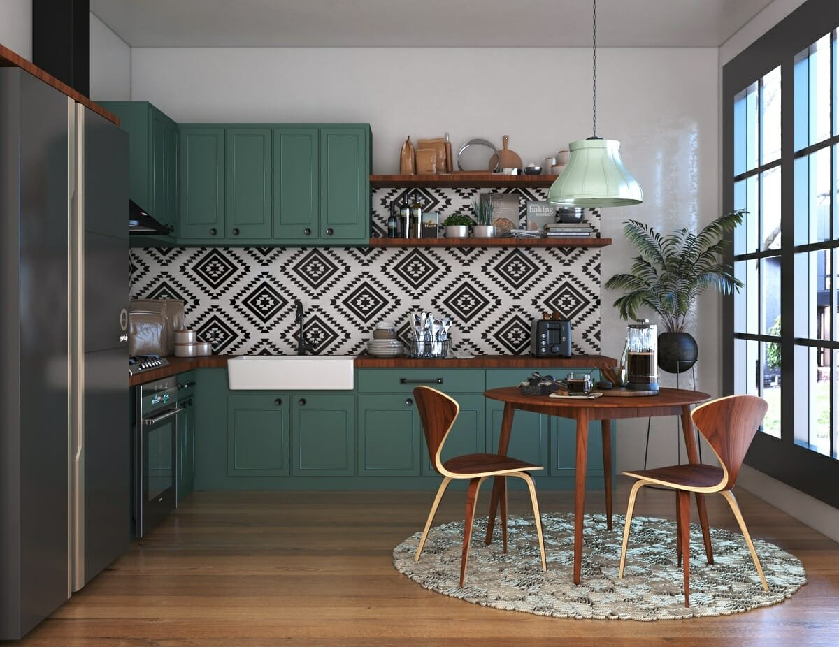 Green kitchen cabinets in a mid century eclectic interior - Shofy D