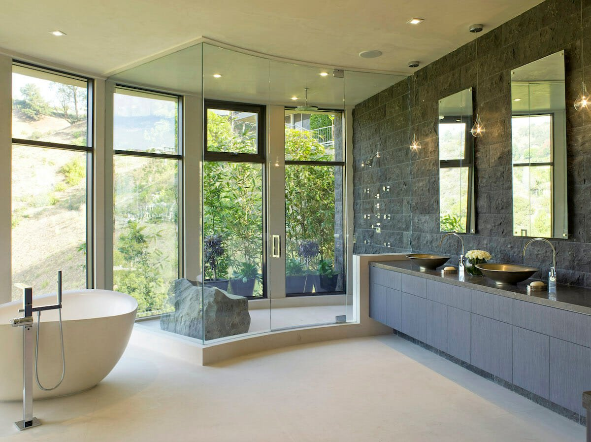 Luxury master bathroom by Decorilla interior design, Newport Beach