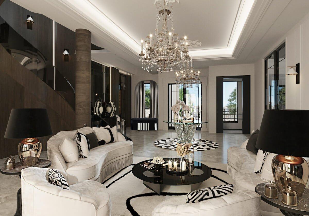 Luxury sitting area by Decorilla online interior designer Nathalie Issa