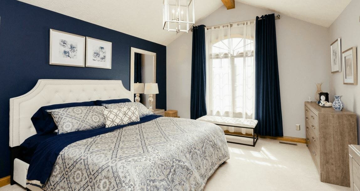 Modern bedroom decor by one of the top interior decorators in Indianapolis, Keianna Rae Harrison