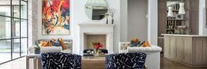 Modern colourful living room decor one of the top Indianapolis interior designers