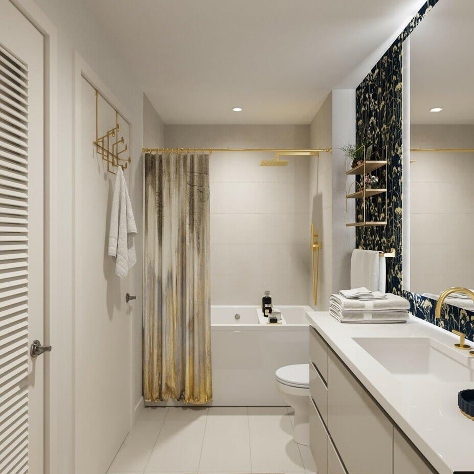 Modern glamorous wallpaper bathroom design by Decorilla