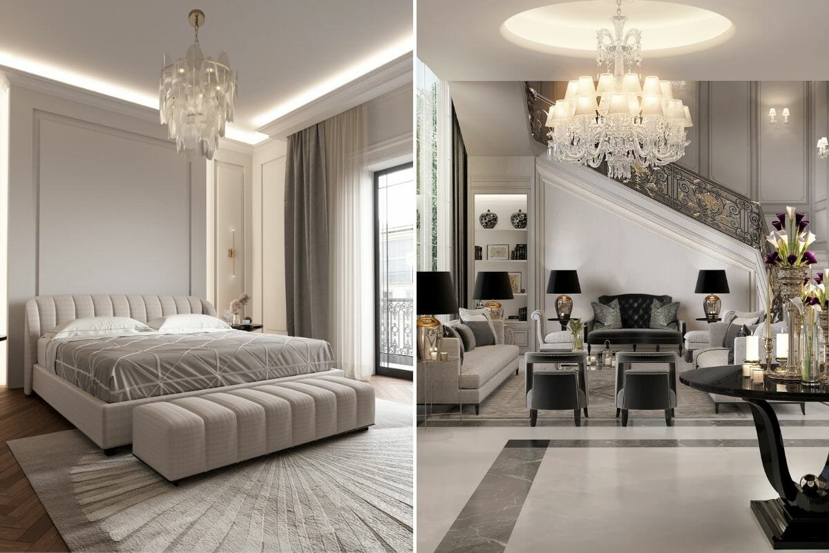 Moody bedroom and glam great room by online interior designer Nathalie Issa