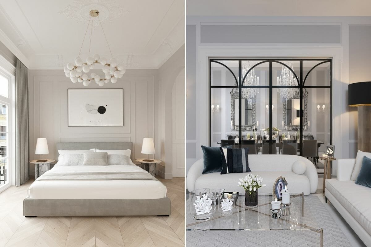 Neoclassical bedroom and open concept by online interior decorator Nathalie Issa