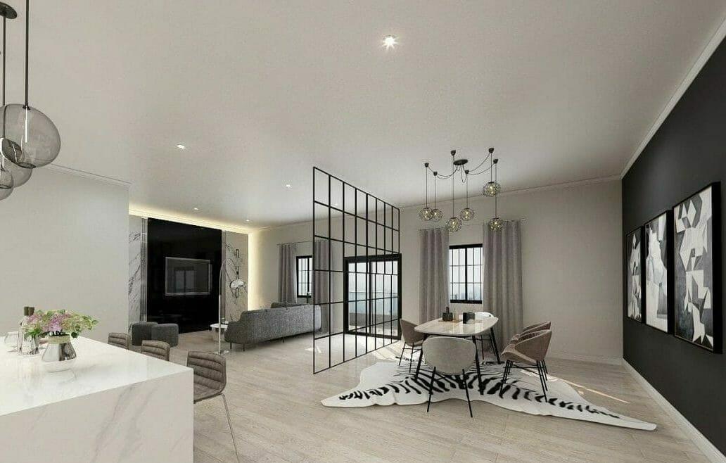 Ravishing open living area decor by top interior decorator Las Vegas, Elise Kotelnikova