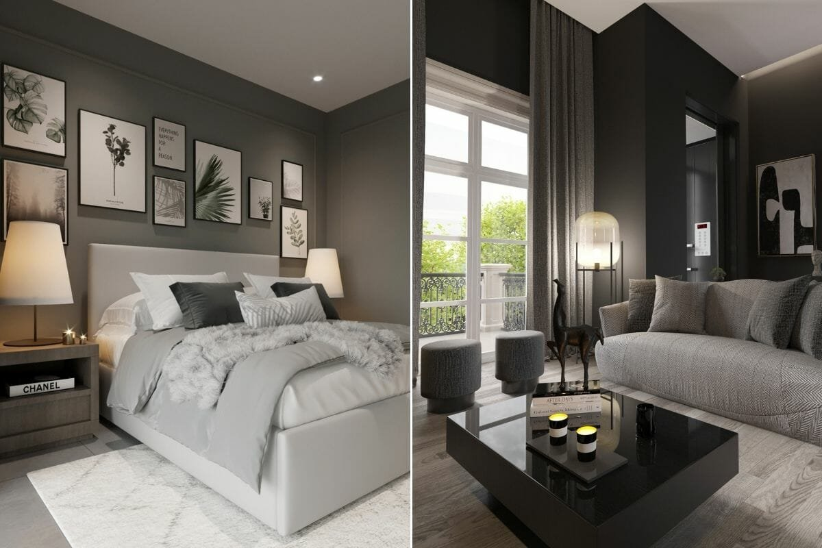 Small bedroom and lounge by online interior decorator Nathalie Issa