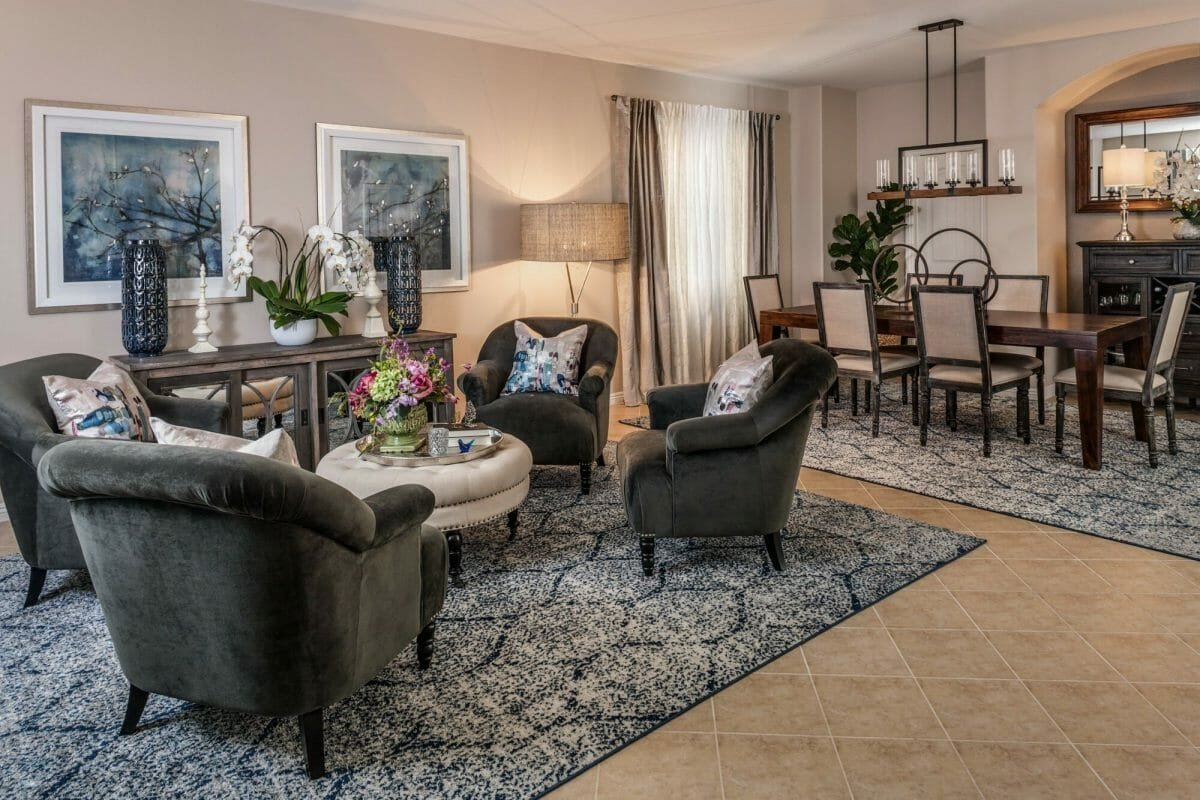 Timeless and traditional living room decor by one of the top interior design firms Las Vegas, Laura Fullow Designs