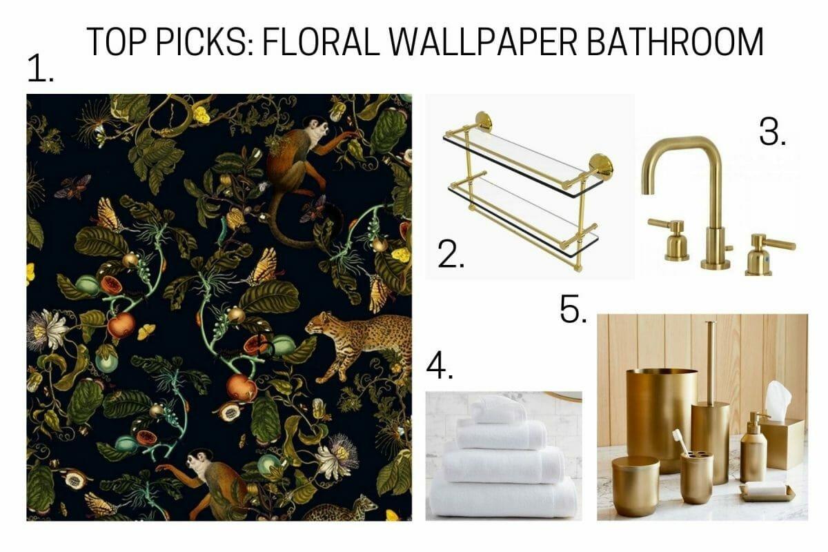 Top picks for floral wallpaper bathroom design