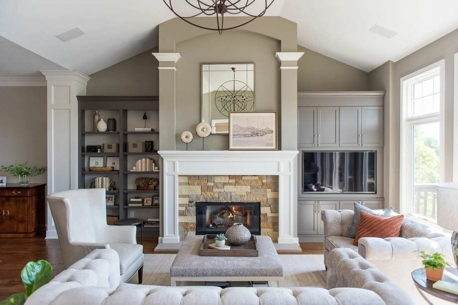 Traditional living room with neautral decor by one of the top Indianapolis interior designers, Kathy Hoskins