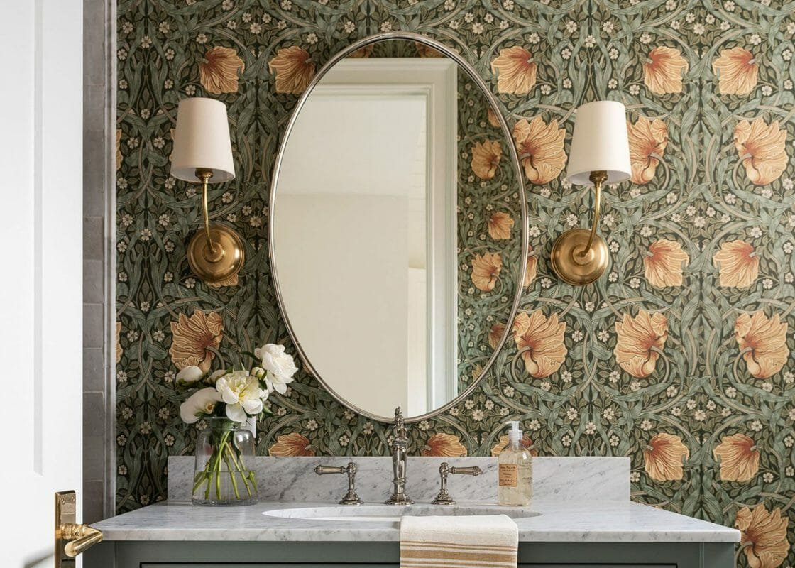 Vintage floral wallpaper bathroom design