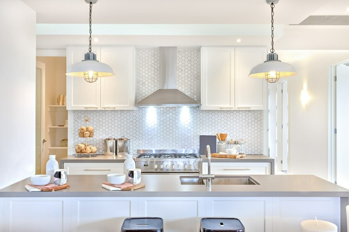 White colors for kitchen cabinets and a kitchen backsplash - Amelia R