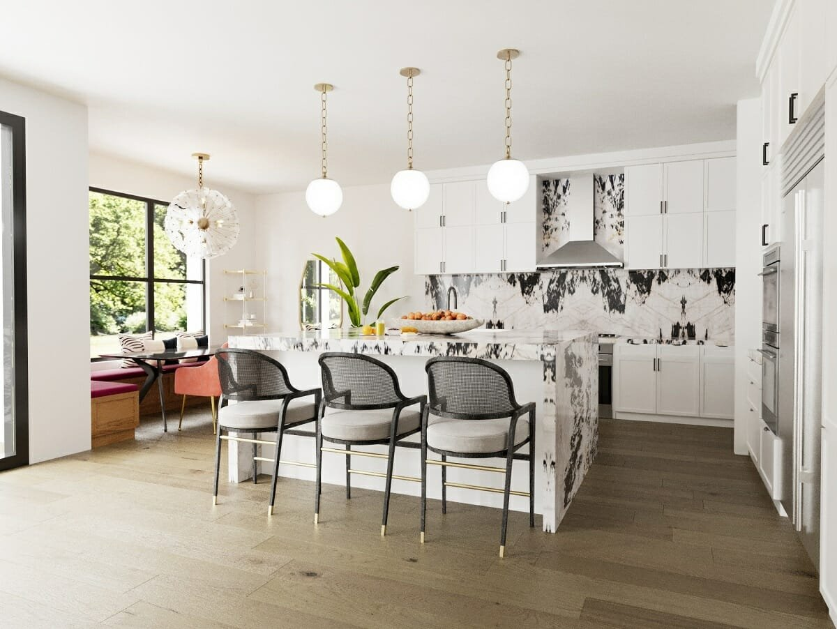 glam kitchen with black accents as home interior trends 2022 - Sonia