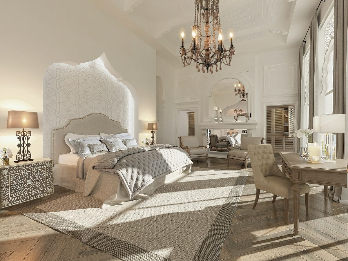 luxurious traditional bedroom by online interior designer Nathalie Issa