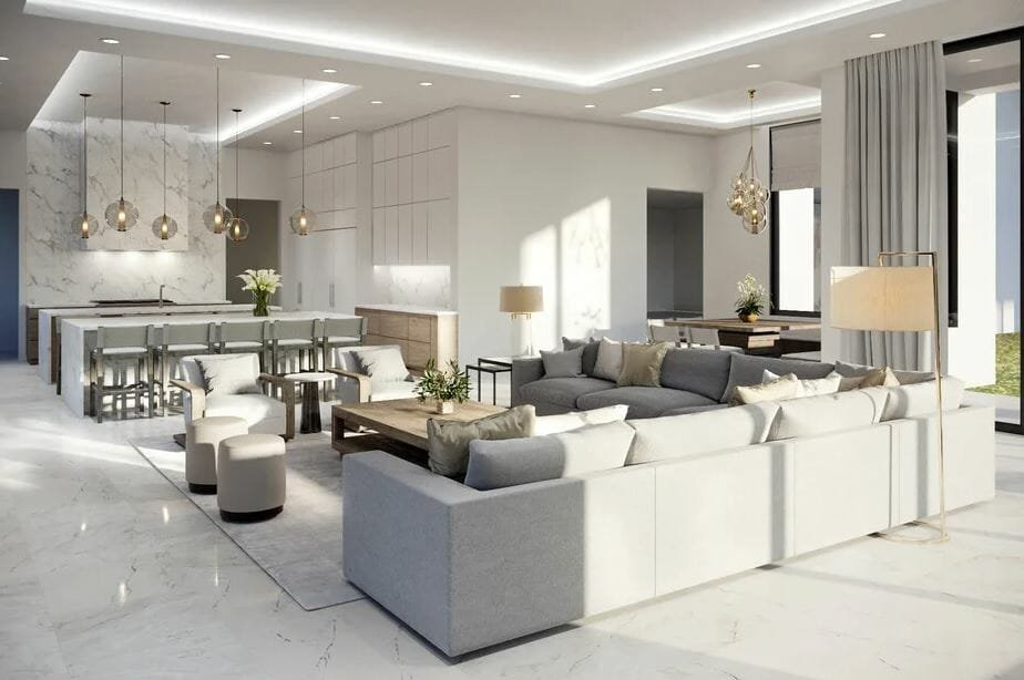 luxury family room, kitchen and breakfast nook