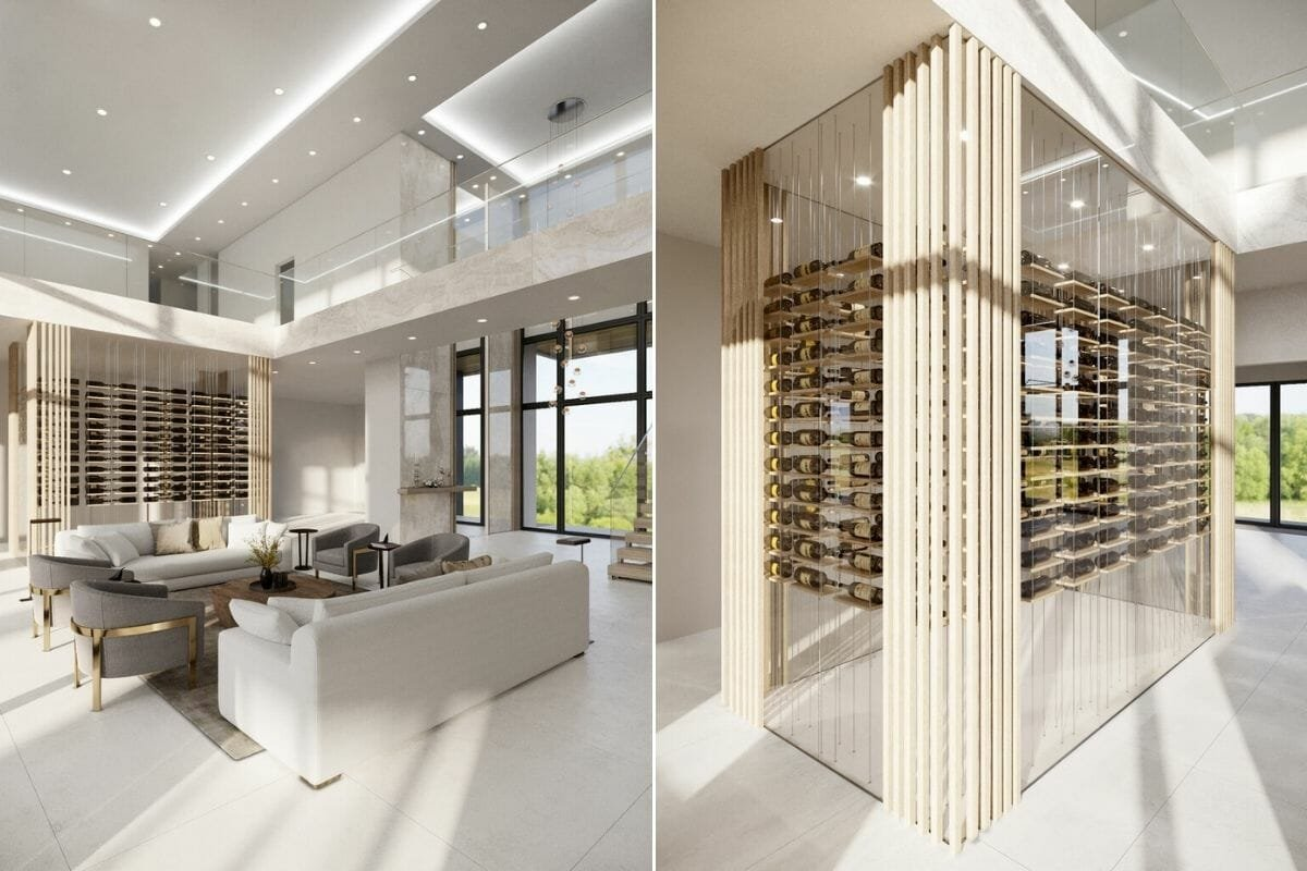luxury great room and wine cellar