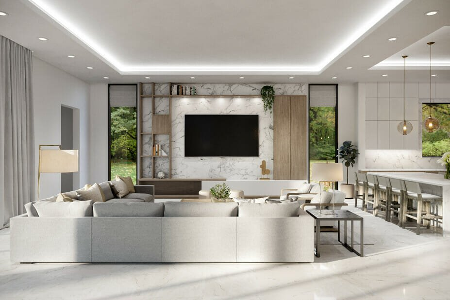 luxury home decor in a lounge and kitchen island