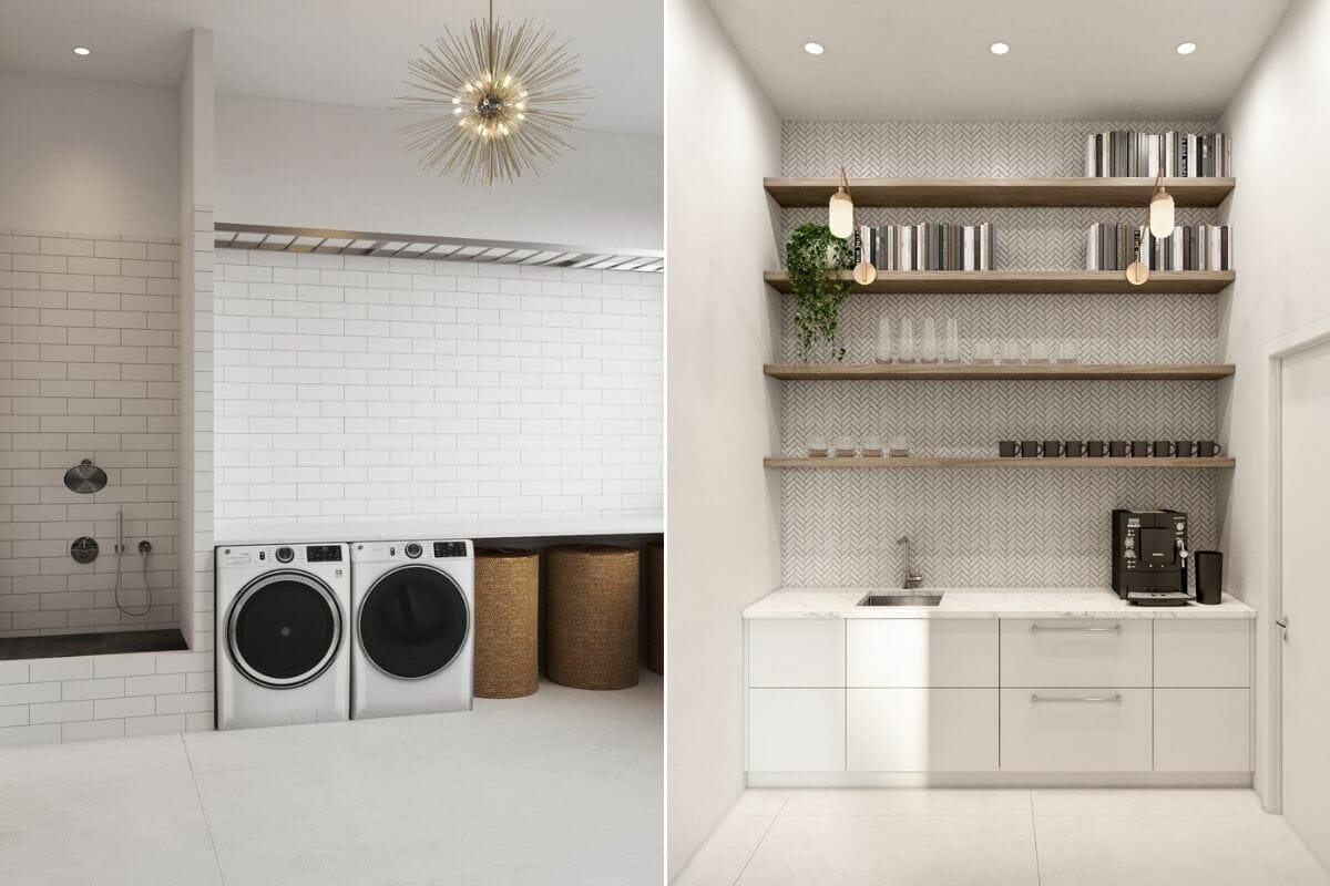 luxury home design for a washroom and butler's bar