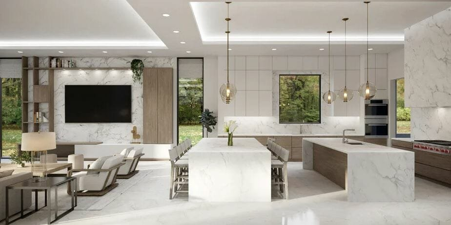 luxury home interior design for and open concept kitchen and lounge