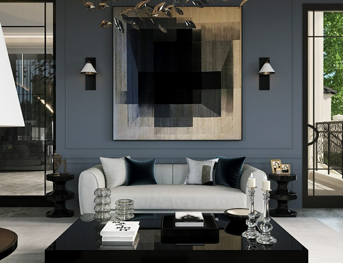 sophisticated lounge by online interior decorator Nathalie