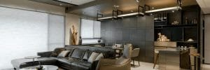 Black and tan masculine apartment décor