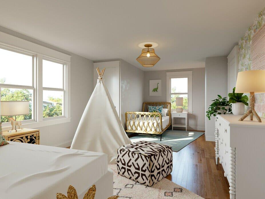 Bohemian bedroom style for kids
