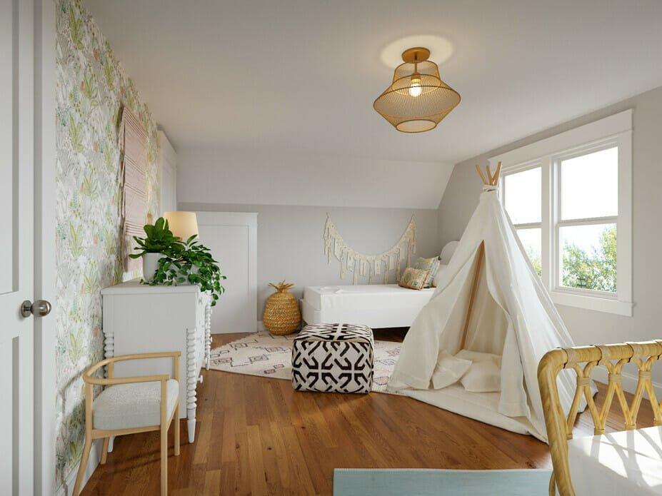Bohemian bedroom style kids room