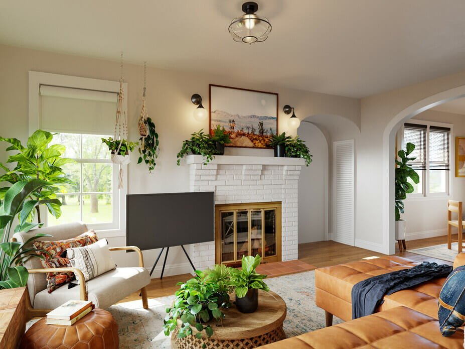 Bohemian interior design filled with plants