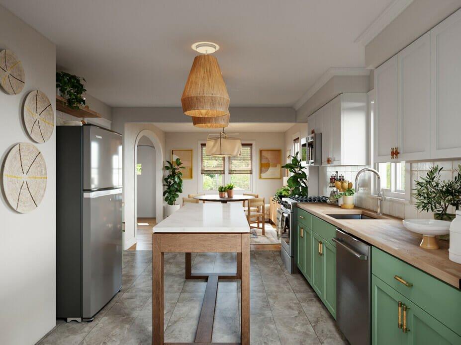 Bohemian interior design for a kitchen