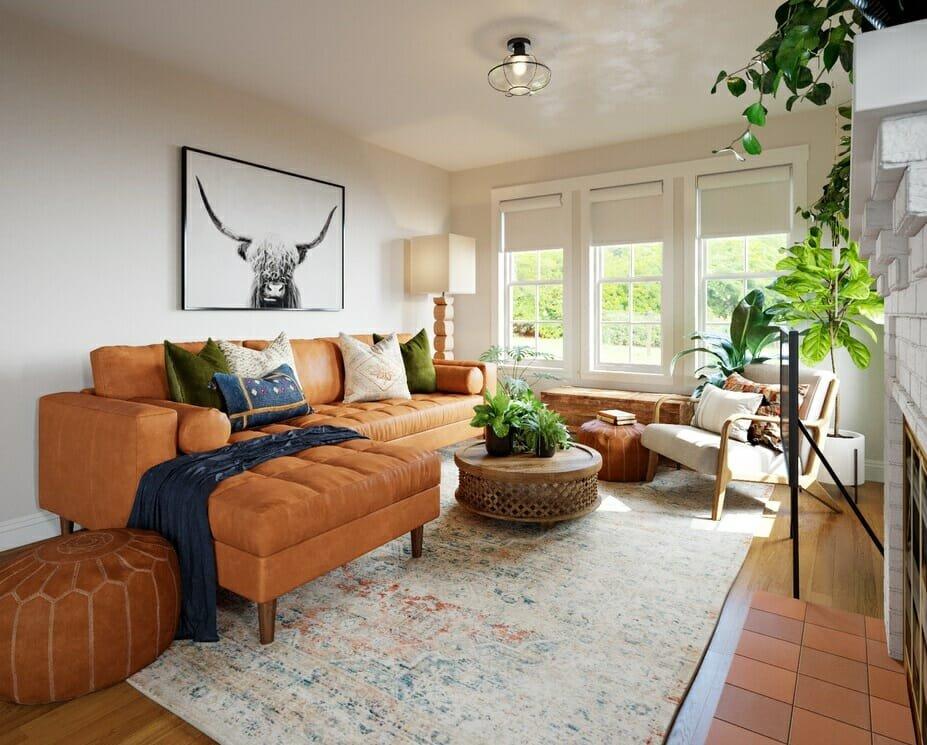 Boho interior design for a lounge