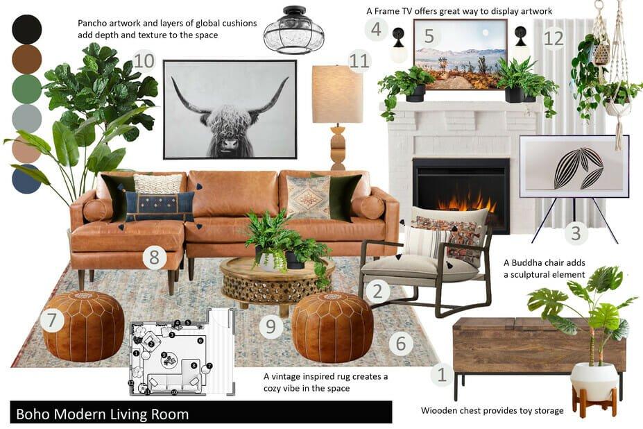 Boho style living room mood board