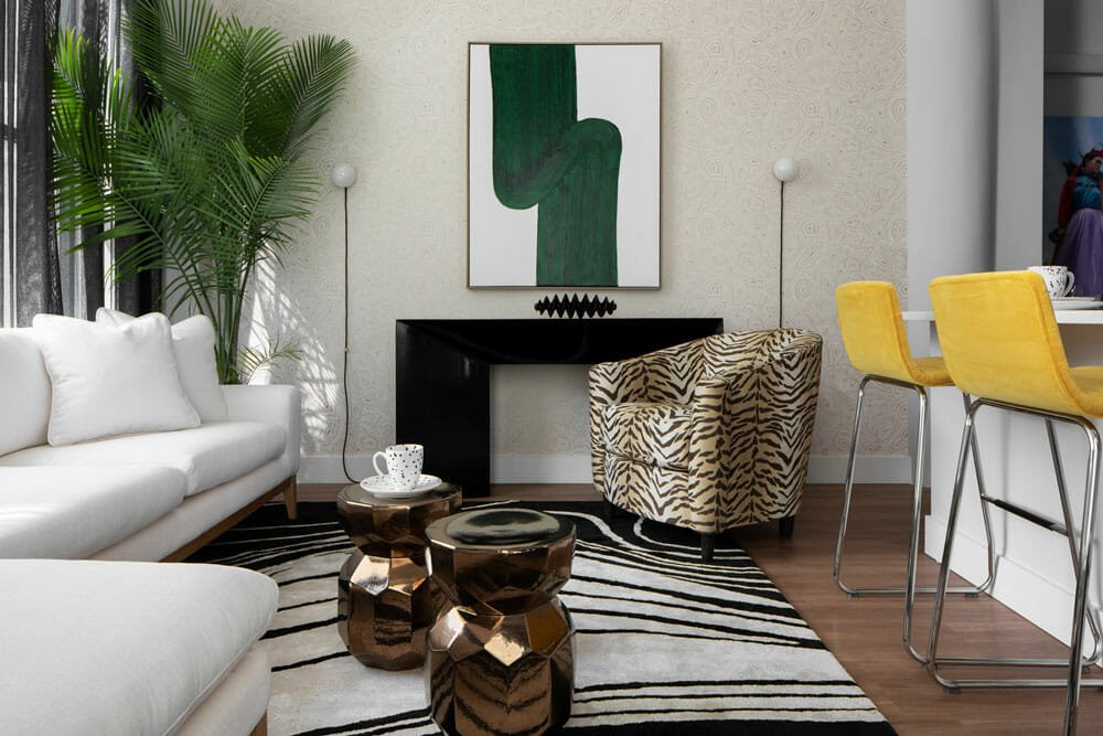Bold living room design by one the leading interior design firms milwaukee