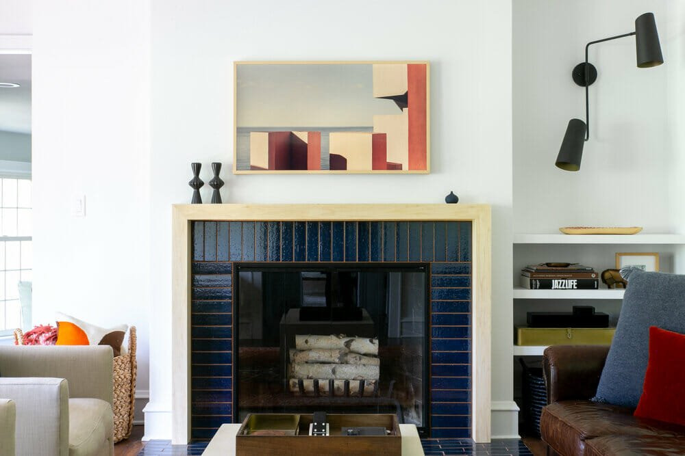 Contemporary fireplace decor by one of the top interior designers Milwaukee, Megan Brakefield