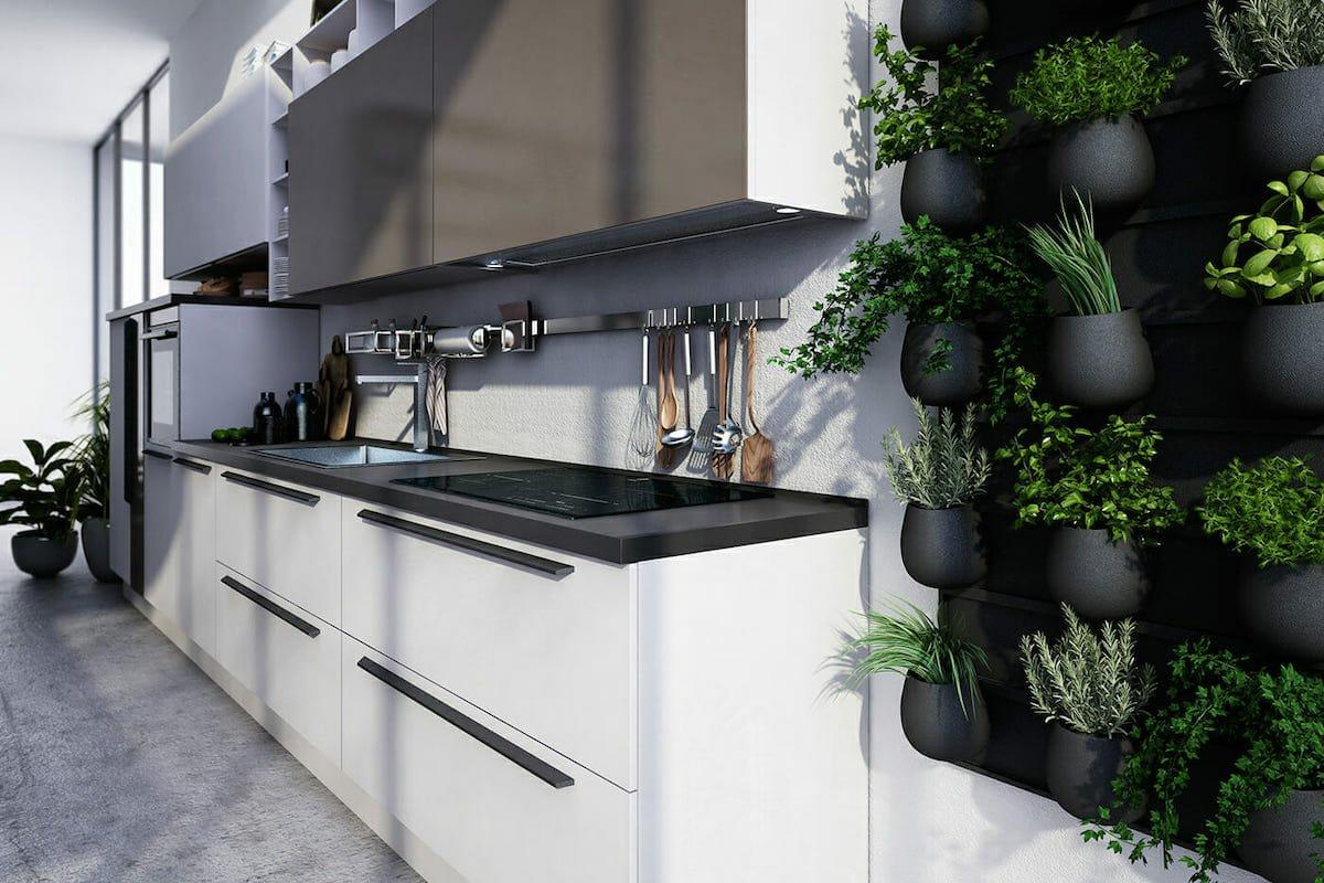 Creative kitchen storage on the backsplash by Decorilla interior designer Cristian G.