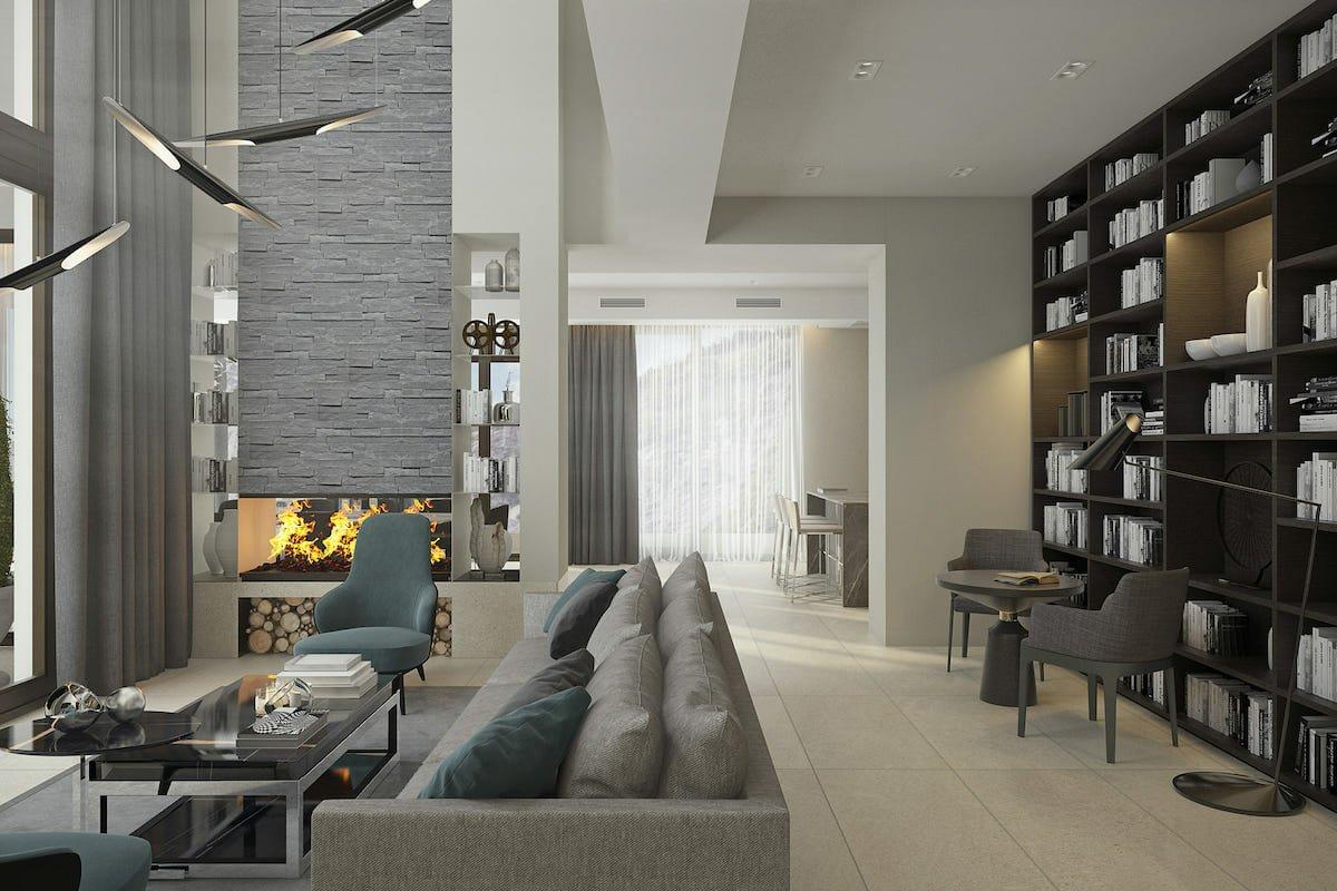 Creative shelving ideas for a contemporary living room by Decorilla designer, Rajna S.