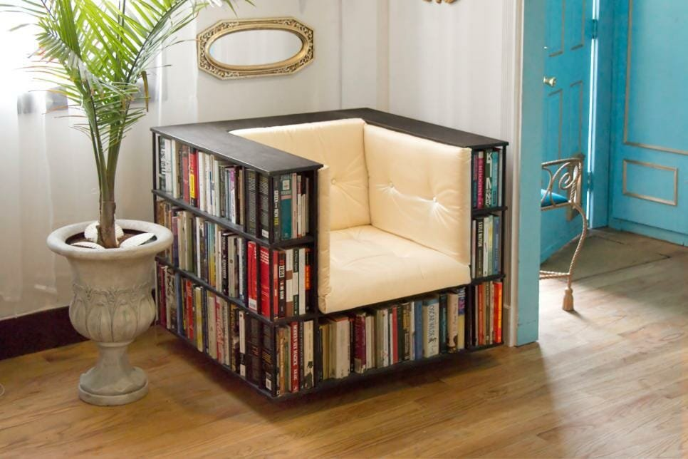 Creative ways to store books - bookcase chair