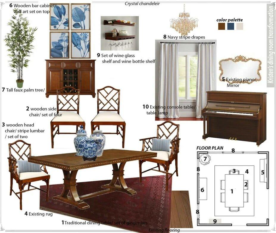 Formal dining room decor moodboard by Decorilla designer Farzaneh K