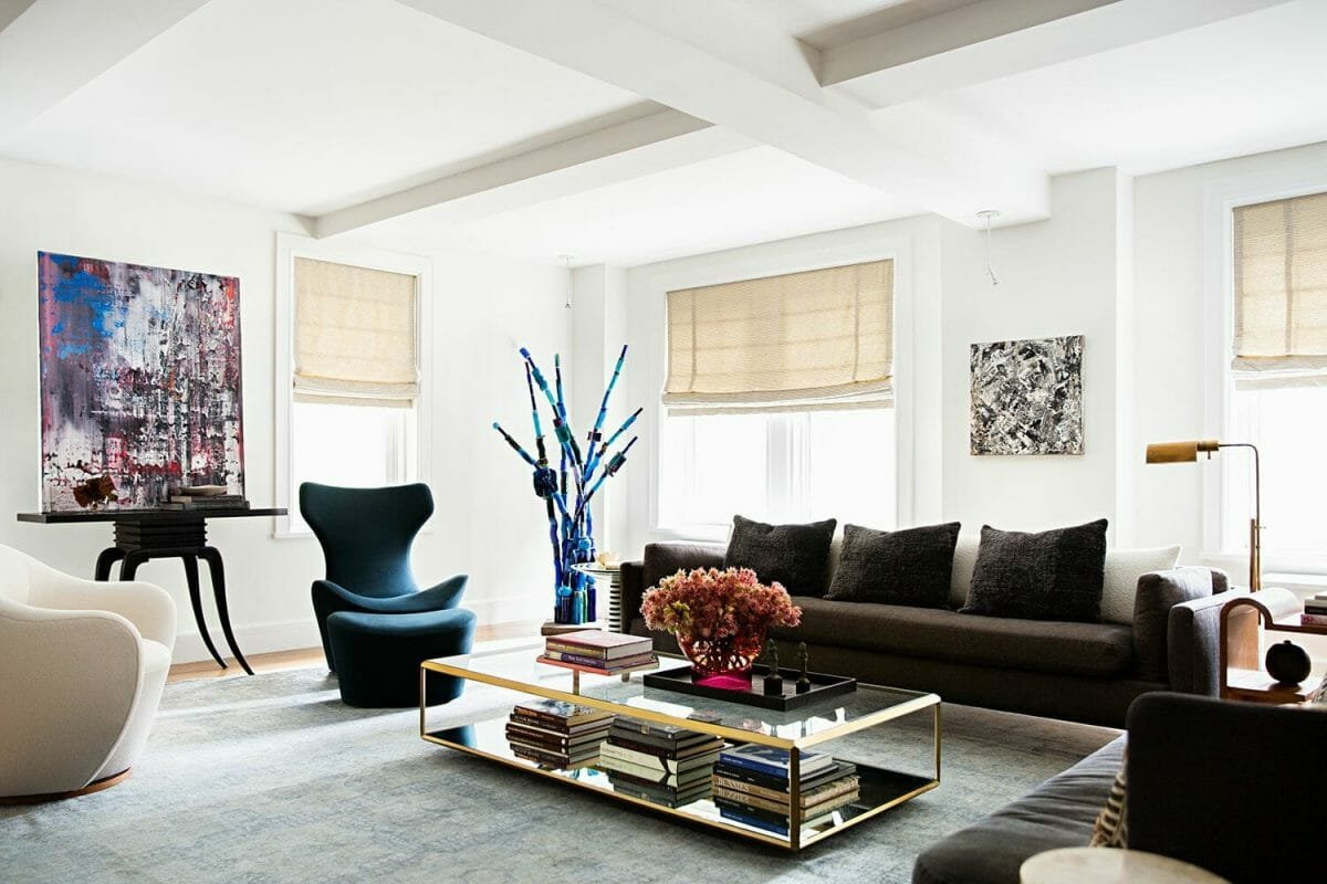 Fun living room design by one of the top interior decorators Milwaukee