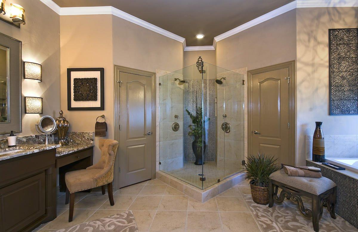 Luxe spa bathroom by Decorilla Fort Worth interior designer Megan Kranz