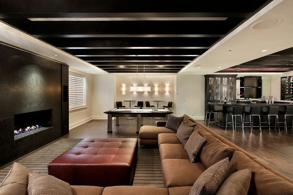 Luxury finished basement ideas with a bar