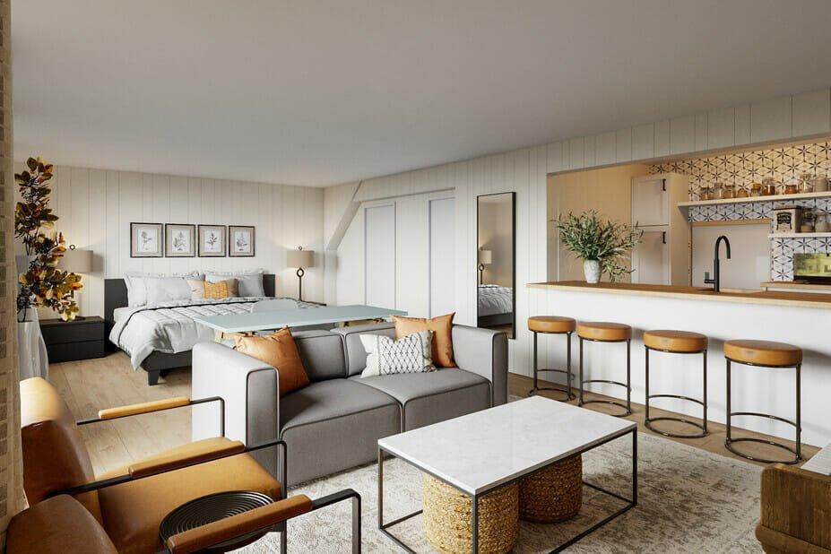 Modern basement studio apartment ideas