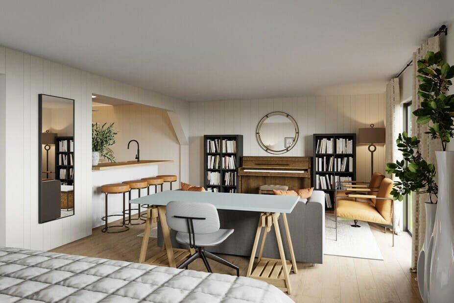 Modern living area in basement studio apartment design
