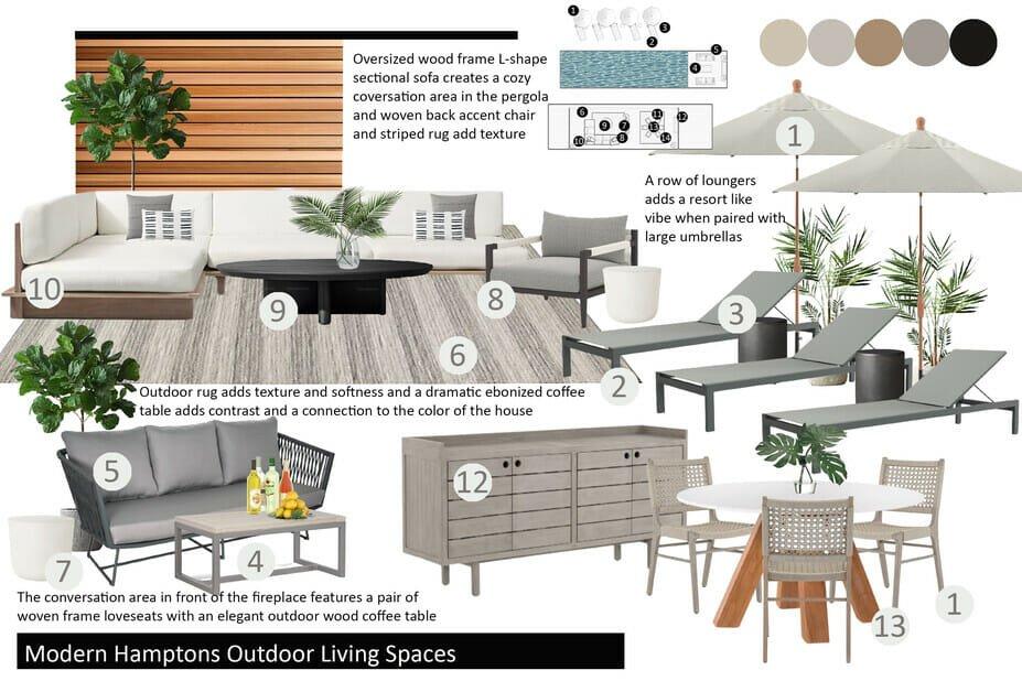 Modern pergola design moodboard by Decorilla designer, Drew F.