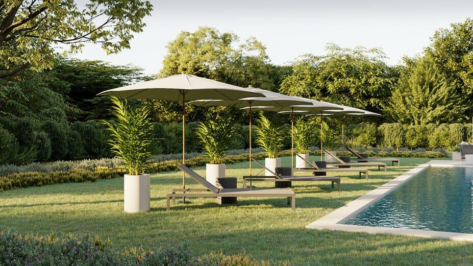 Resort like swimming pool lounge chairs in backyard