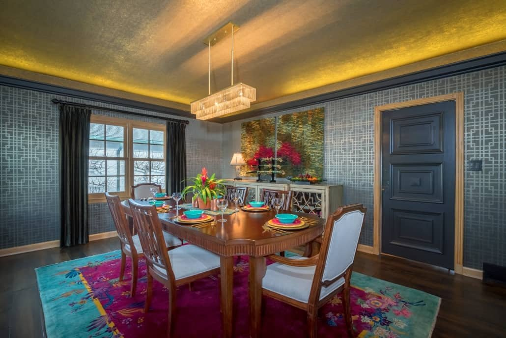 Rich dining room decor by one of the top interior design firms Milwaukee