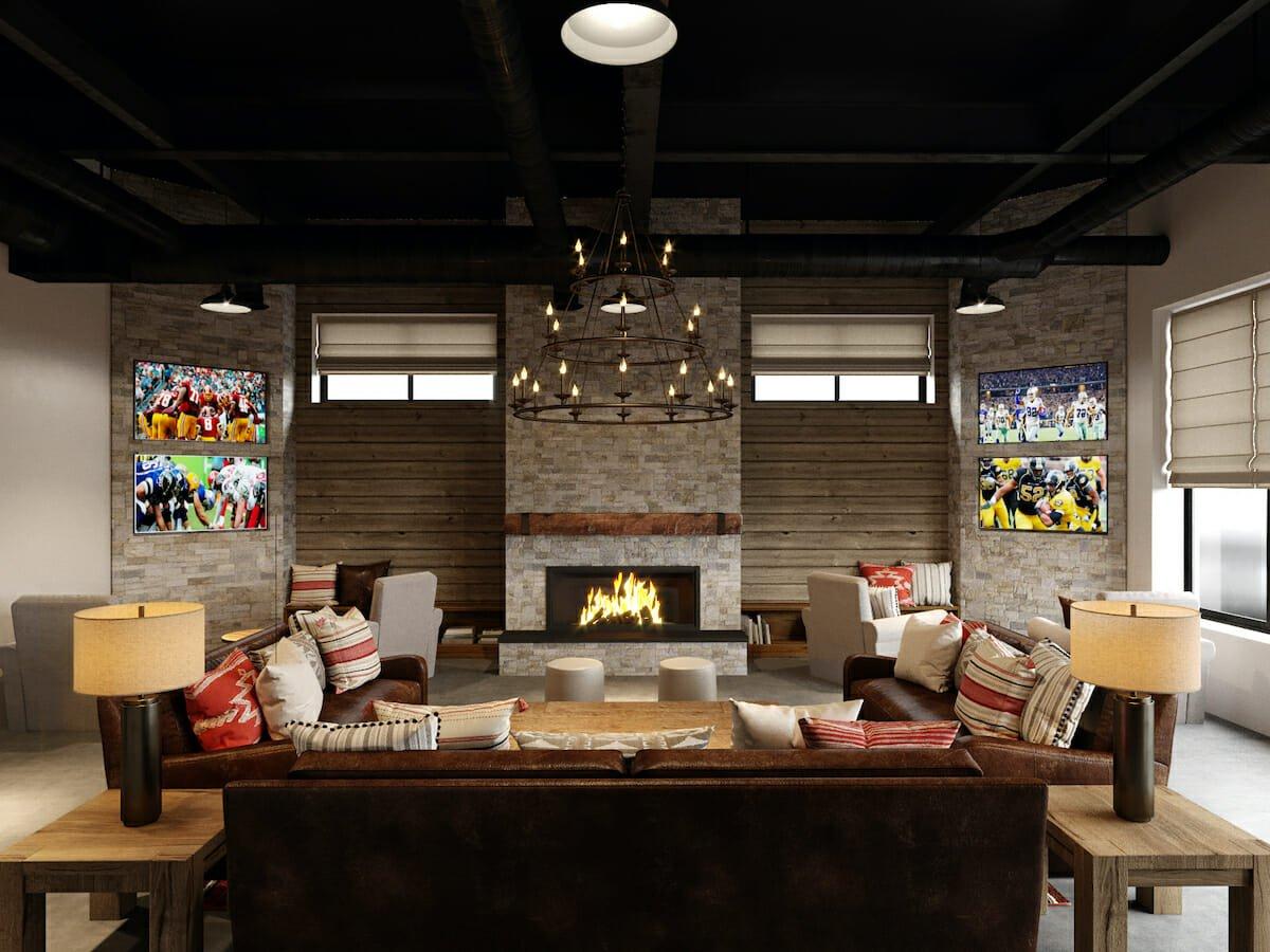 Sports lounge basement design ideas
