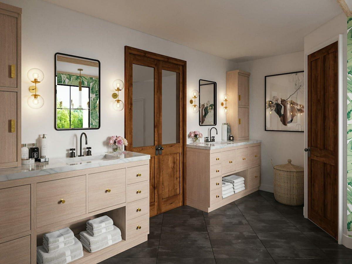 Under the sink creative towel storage by Decorilla designer, Sonia C.