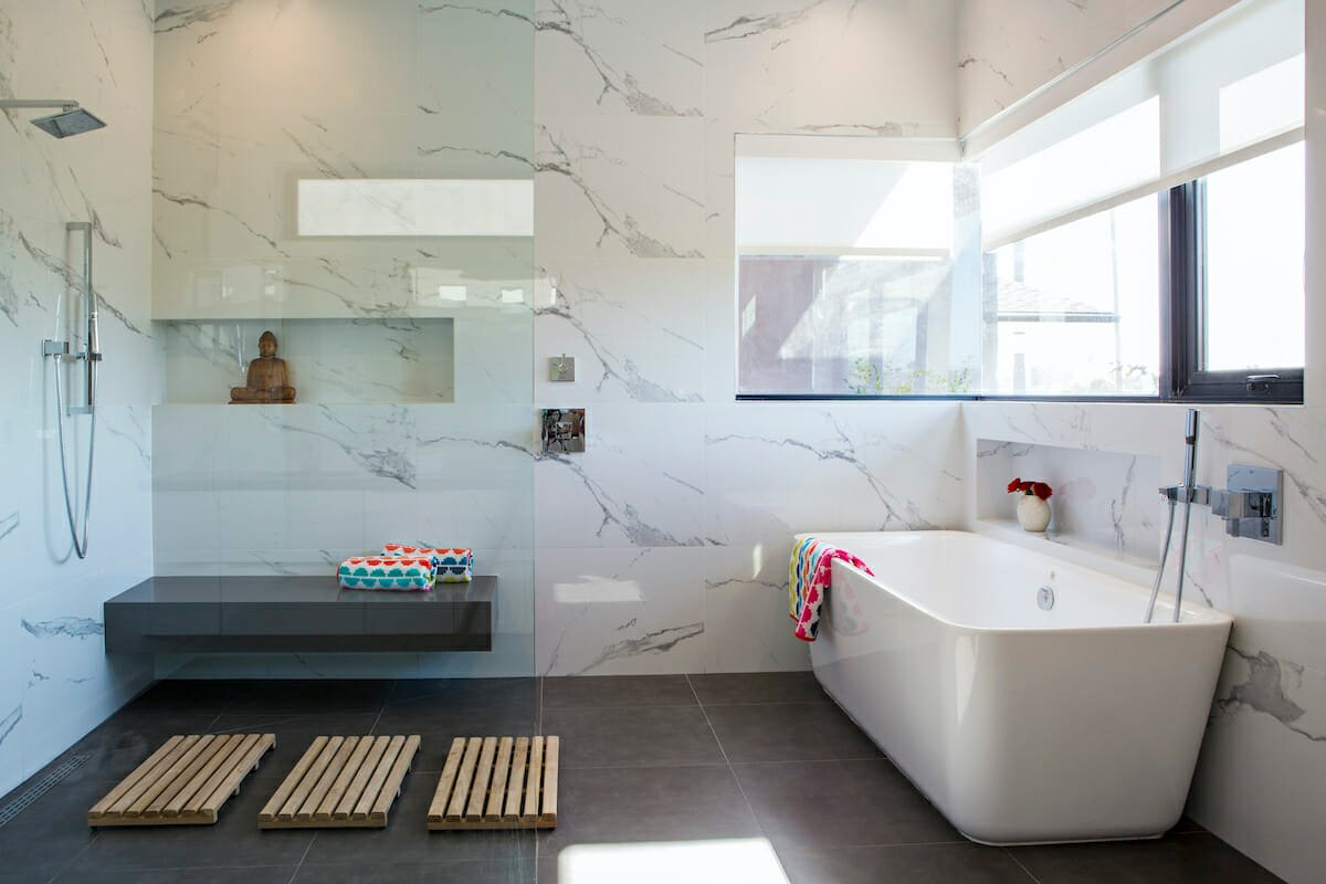 Wetroom bathroom remodel ideas 2022 by Decorilla designer, Lori D.