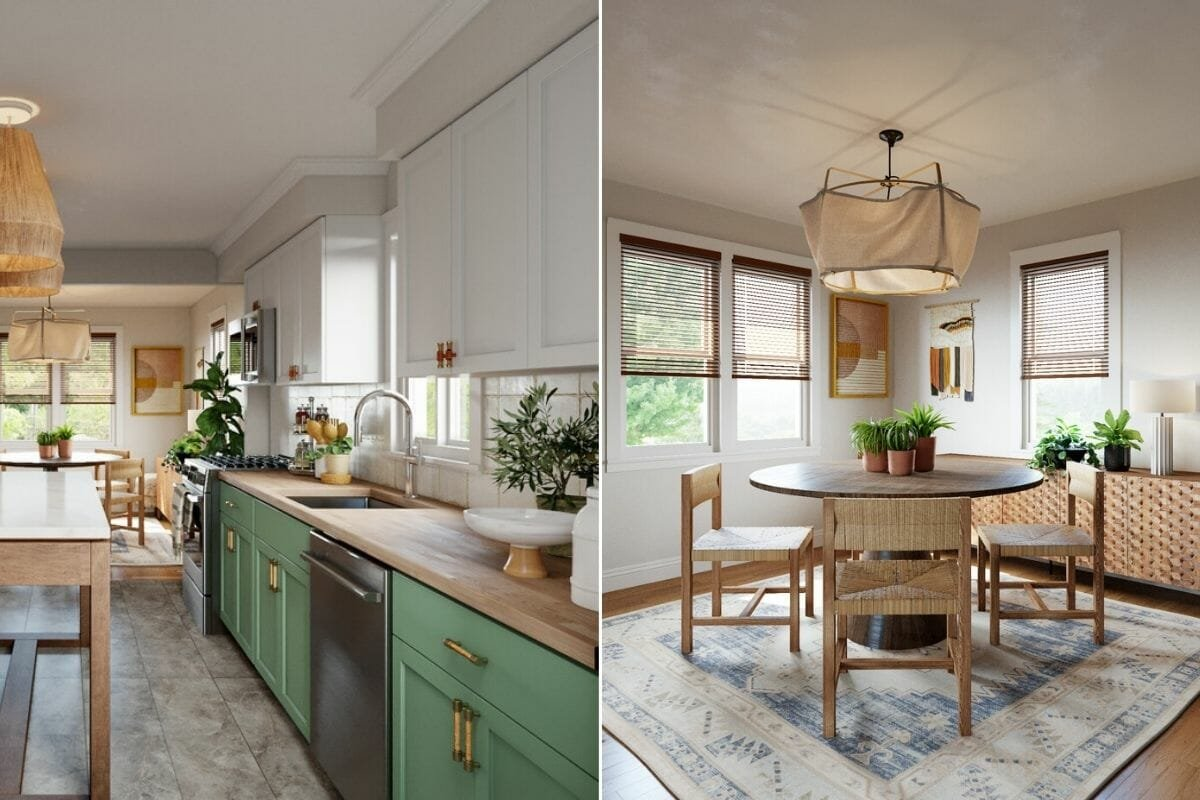 boho interior design for a kitchen and dining room