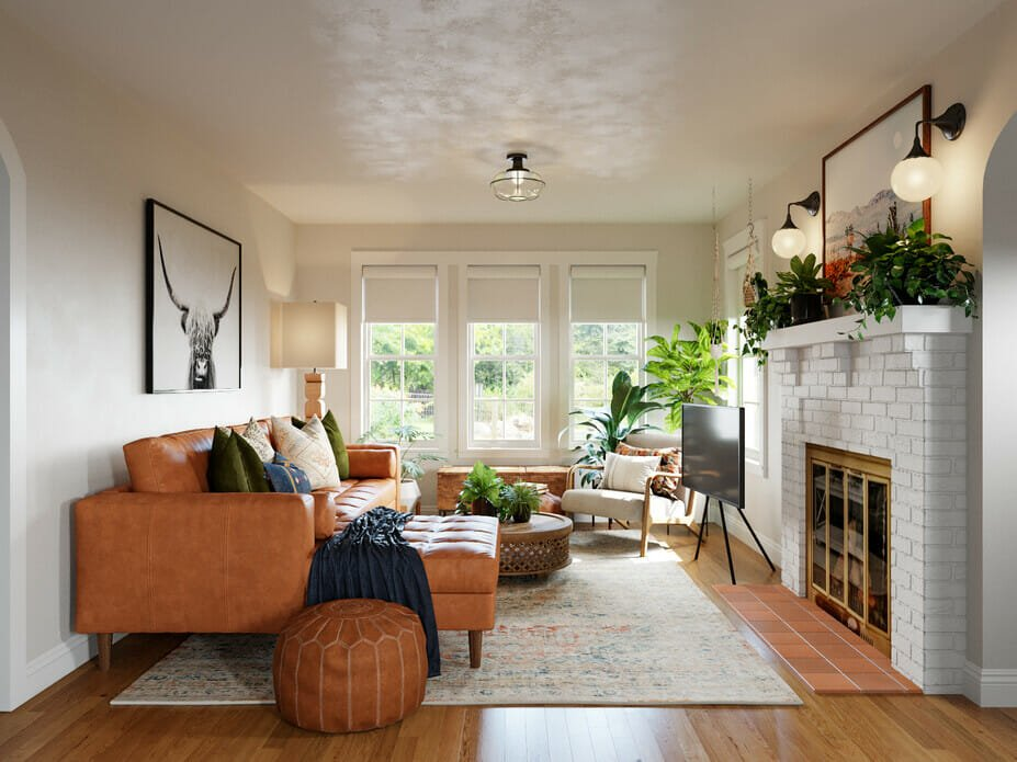 boho style decor in a living room