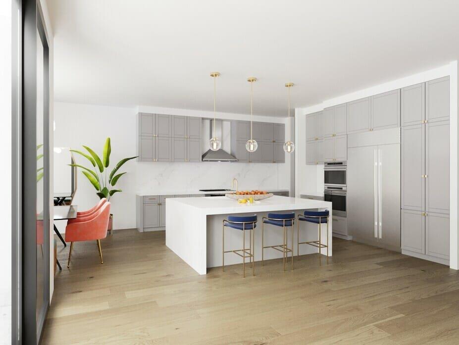 bright grey contemporary kitchen cabinets